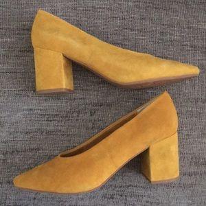 New Seychelles day heel mustard marigold suede 7.5